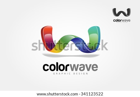 Creative 3 dimensional abstract vector logo design with shiny effect. this object look like wave or letter of W put on white background. - stock vector
