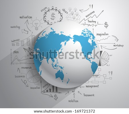 Creative drawing chart and graphs business plan idea on globe, Business world concept modern design template workflow layout, diagram, step up options, Vector illustration - stock vector