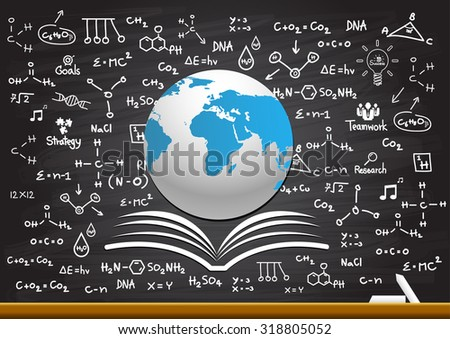 Creative drawing science on globe - stock vector