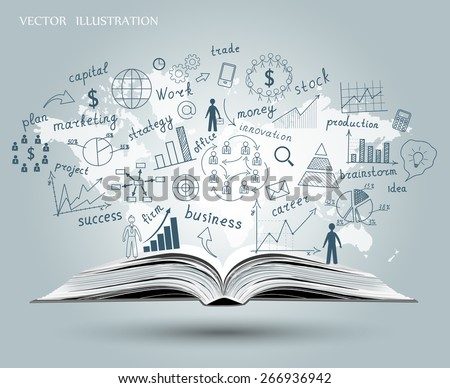 Creative drawing world map, graphs and charts business strategy plan concept idea on an open book. Vector illustration modern template design - stock vector