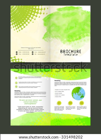 Creative ecological brochure, template or flyer with front and back side presentation.
