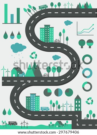 Creative ecological infographic elements with illustration of buildings, vehicles, trees and wind turbines. - stock vector