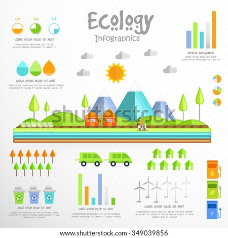 Creative Ecological Infographic elements with view of urban city and various statistical graphs. - stock vector