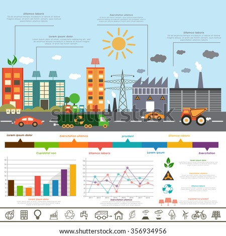 Creative Ecological Infographic layout with view of urban city and colorful statistical graphs. - stock vector