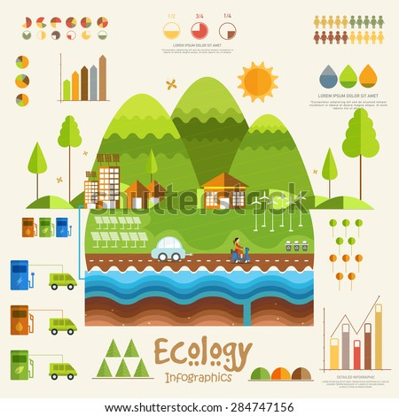 Creative ecology infographic elements with city view and various statistical graphs and charts. - stock vector