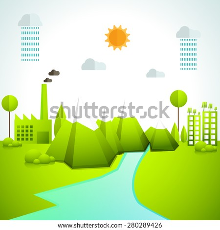 Creative ecosystem based infographic elements layout with view of a city. - stock vector