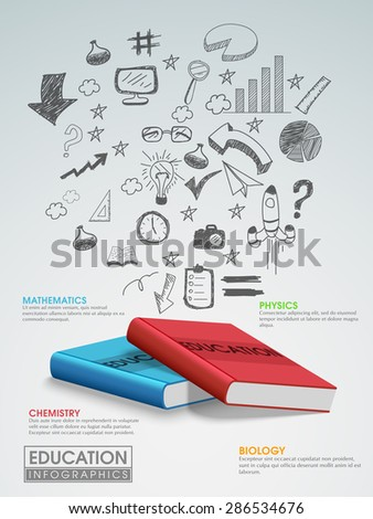 Creative education infographic template layout with various hand drawn elements and shiny books. - stock vector