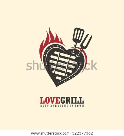Creative emblem concept for bbq restaurant. Logo design template with barbecue, flame and heart. Love grill unique theme. - stock vector