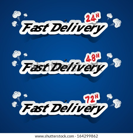 Creative Fast Delivery Banners With Smoke On Blue Background vector illustration