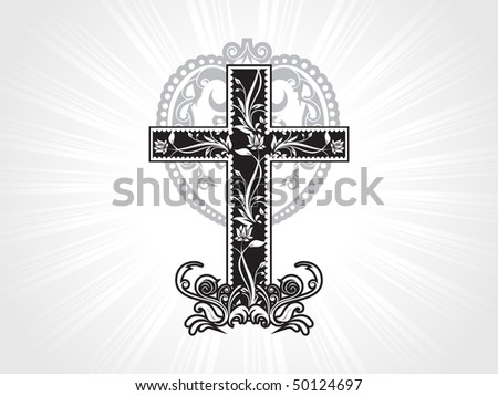 creative filigree pattern isolated christian cross - stock vector