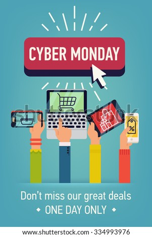 Creative flat design web banner template on Cyber Monday online shopping sale day with multiple hands holding mobile devices and portable computers with shopping icons and symbols on screen - stock vector