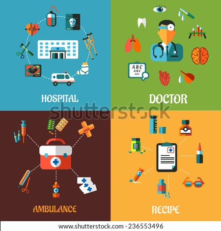 Creative flat medical concept designs including hospital, doctor, ambulance and intake recipe icons and elements - stock vector