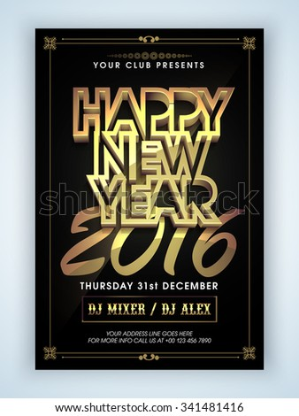 Creative Flyer, Banner or Pamphlet design with stylish shiny text Happy New Year 2016.  - stock vector