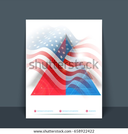creative flyer template or banner with waving american flag design