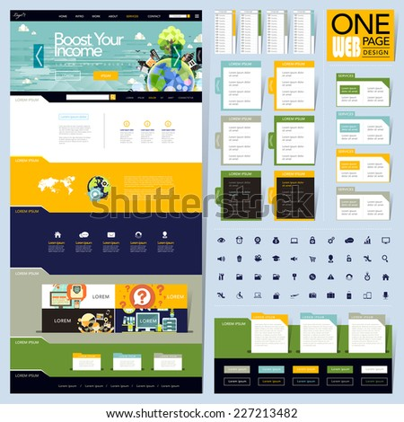 creative folder style one page website design template - stock vector