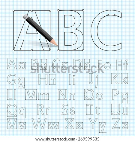 Creative Font For Your Design Drawn With A Pencil On The Drawing Paper Cool Set