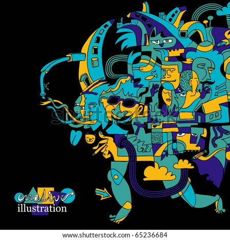 creative funky illustration - stock vector