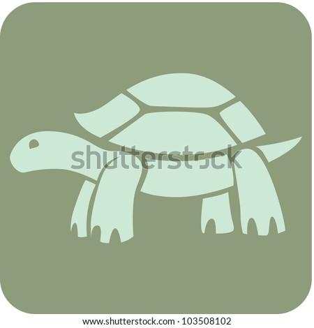 Creative Galapagos Tortoise Icon - stock vector