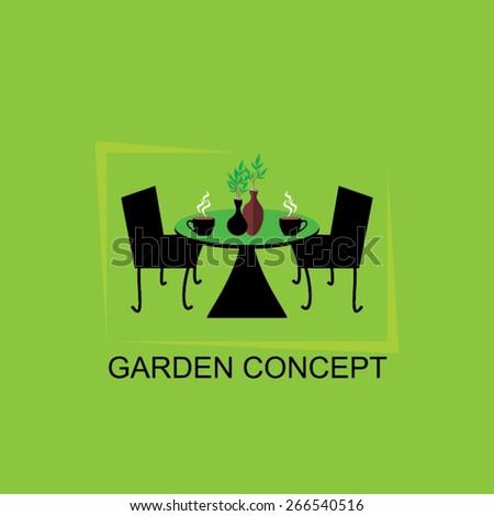 creative gardening concept tea table with chair  - stock vector