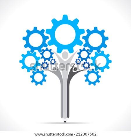 creative gear pencil tree design concept vector - stock vector