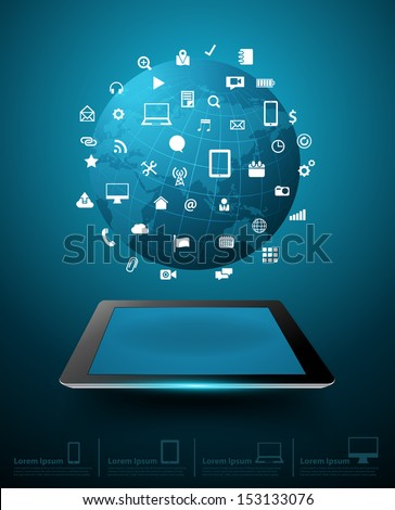 Creative global network with tablet computer cloud of application icon, Business software and social media networking online store service concept, Vector illustration modern template design - stock vector