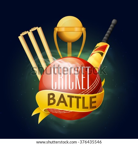 Creative glossy ball with golden trophy, bat and wicket stumps for Cricket Battle. - stock vector