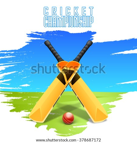 Creative glossy Bats with Ball on stylish blue and green background for Cricket Championship concept. - stock vector