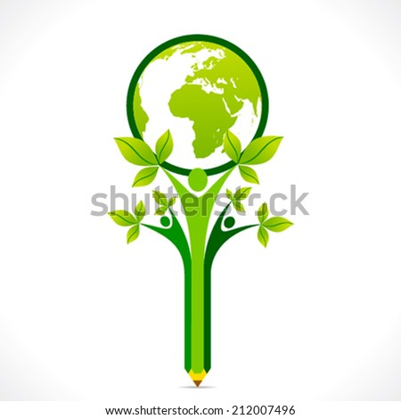 creative go green or save earth support by people or children concept vector - stock vector