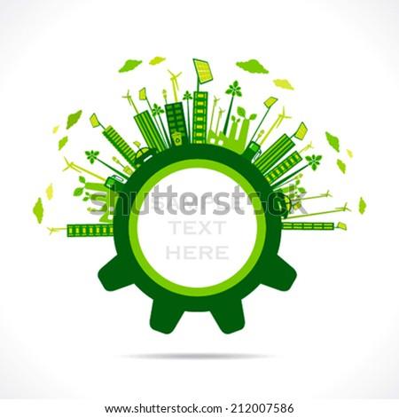 creative green city design in gear concept vector - stock vector