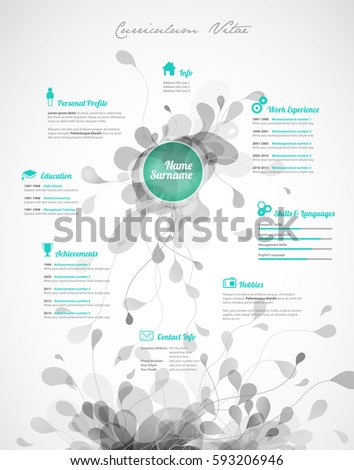 colorful resume template word free download stock vector creative green color
