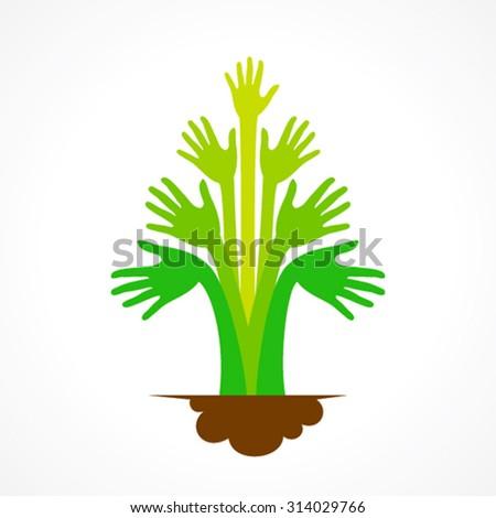 creative green hand tree design concept vector - stock vector