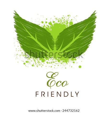 Creative green leaves with splash and text Eco Friendly for Save Nature purpose on white background. - stock vector