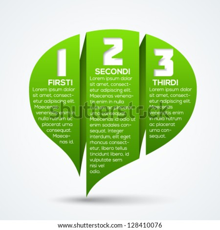 Creative green speech bubble with progress numbers and place for your text. Vector illustration. - stock vector