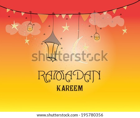 Creative greeting card design for holy month of muslim community festival Ramadan Kareem with moon and hanging lantern and stars on orange background.