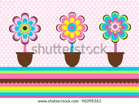 Creative greeting card with decorative flowers