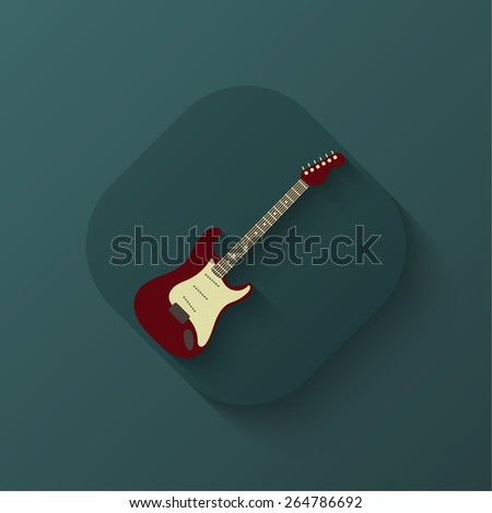 Creative guitar icon. Flat. Shadow. Poster. Vector illustration for your design - stock vector
