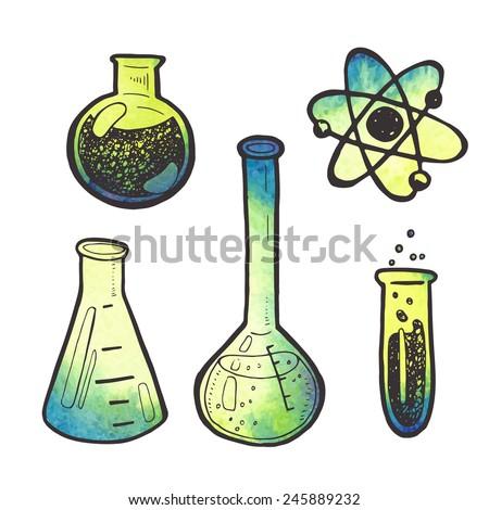 Creative hand drawn chemistry sciense design elements set.. - stock vector
