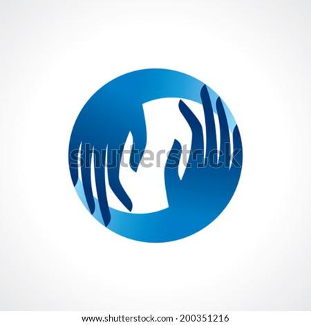 creative hand icon, arrange hand and make round shape  - stock vector