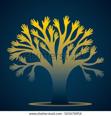creative hand tree vector - stock vector