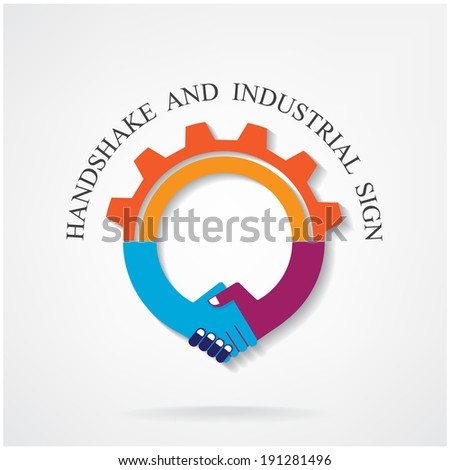 Creative handshake sign and industrial idea concept background design for poster flyer cover brochure ,business idea ,industrial sign,abstract background.vector illustration contains gradient mesh. - stock vector