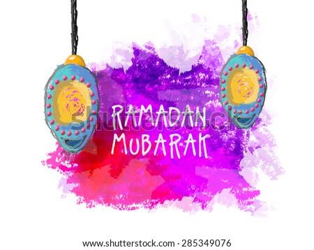 Creative hanging lanterns on color splash background for Islamic holy month of prayers, Ramadan Mubarak celebration. - stock vector