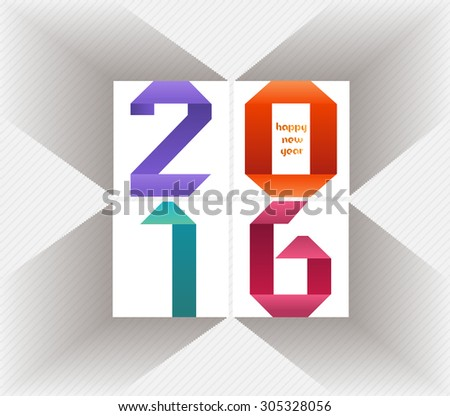 Creative happy new year 2016 colorful origami design - stock vector