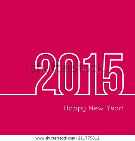 creative happy new year 2015 design.  Flat design. - stock vector
