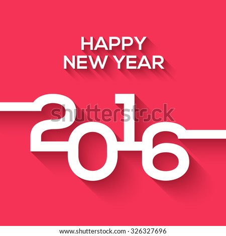 Creative happy new year 2016 design. Flat design. Happy new year 2016 creative greeting card design in flat style with long shadow. - stock vector