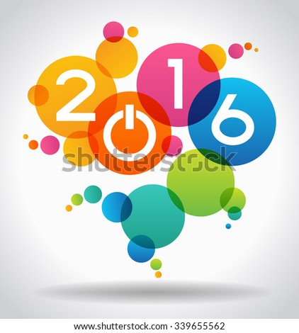 Creative happy new year 2016 design. New Year background.  The file is saved in the version 10 EPS. - stock vector