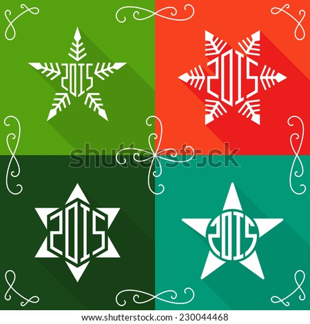Creative happy new year 2015 greeting stock vector 230044468 creative happy new year 2015 greeting cards flat design with lineart vignettes snowflakes m4hsunfo