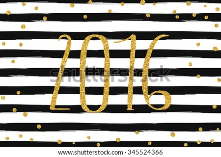 Creative happy new year 2016 text design. Gold glitter confetti on striped background. Vector illustration. - stock vector