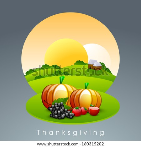Creative Happy Thanksgiving Day morning background with fruits and vegetables.  - stock vector