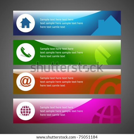 Creative header design. Background template. Email, home, phone, internet, support, service. - stock vector