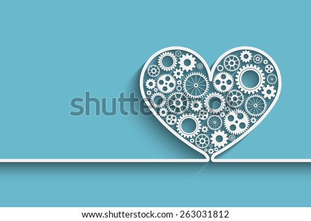 Creative heart background with gears. Eps10 vector for your design - stock vector